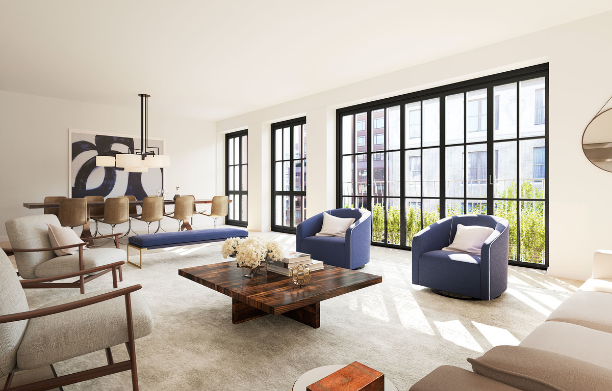 Spacious, light-filled living rooms serve as an ideal background for artwork and traditional or modern furniture. Solid oak flooring, floor-to-ceiling windows, and Juliet balconies provide a fresh but sophisticated feel.