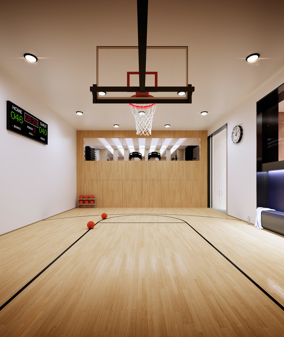 The building's unique basketball court offers endless possibilities for fun. Residents have their own private space to play—whether it's shooting baskets after dinner, hosting a yoga class on the weekend, or just running around on a rainy day.