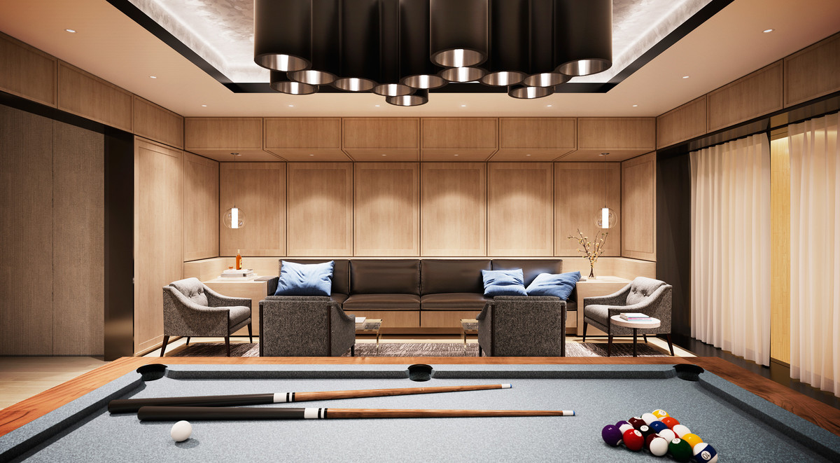 In the lounge, residents will feel like they're guests at a boutique design hotel. Equipped with a pool table and areas to relax, this room is a stylish extension of home and an ideal place to entertain friends.