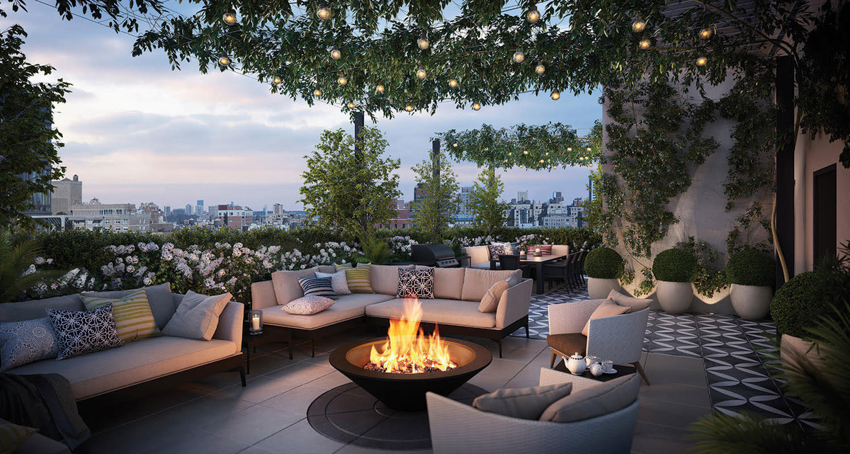 The rooftop terrace is a wonderful place to retreat and entertain. In the summer, there are beautiful sunsets over the city skyline to enjoy. In the cooler months, the terrace's outdoor fireplace is a natural gathering spot for family and friends.
